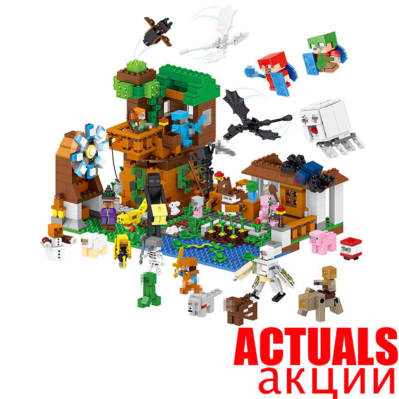 In Stock 1007pcs LELE Minecraft My World Building Blocks Bricks Toys Educational Zombie Action Figures For ChildrenINGly lele bela my world minecraft dragon blue sky 548pcs building blocks bricks toys for children gift 5staregoly