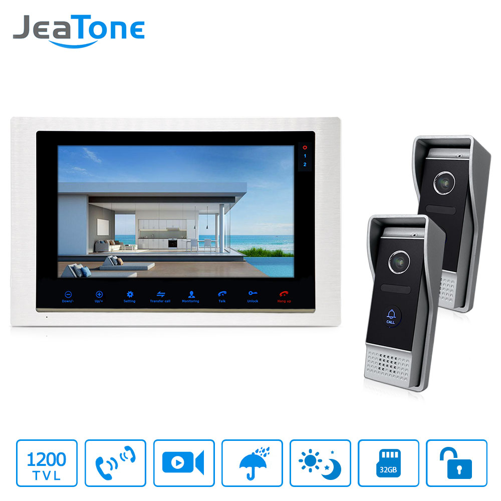JeaTone 10 TFT wired 1200TVL Video Home Phone Doorbell Security Intercom System IR Night Vision Outdoor Calling Panel jeatone 10 hd wired video doorphone intercom kit 3 silver monitor doorbell with 2 ir night vision 2 8mm lens outdoor cameras