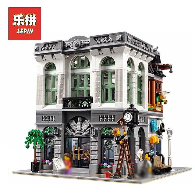 Lepin 15001 Città Street View Modello di Banca Costruzione di Blocchi di Mattoni Compatibile Con legoing 10251 Kid Giocattolo Educativo Regali Di Natale