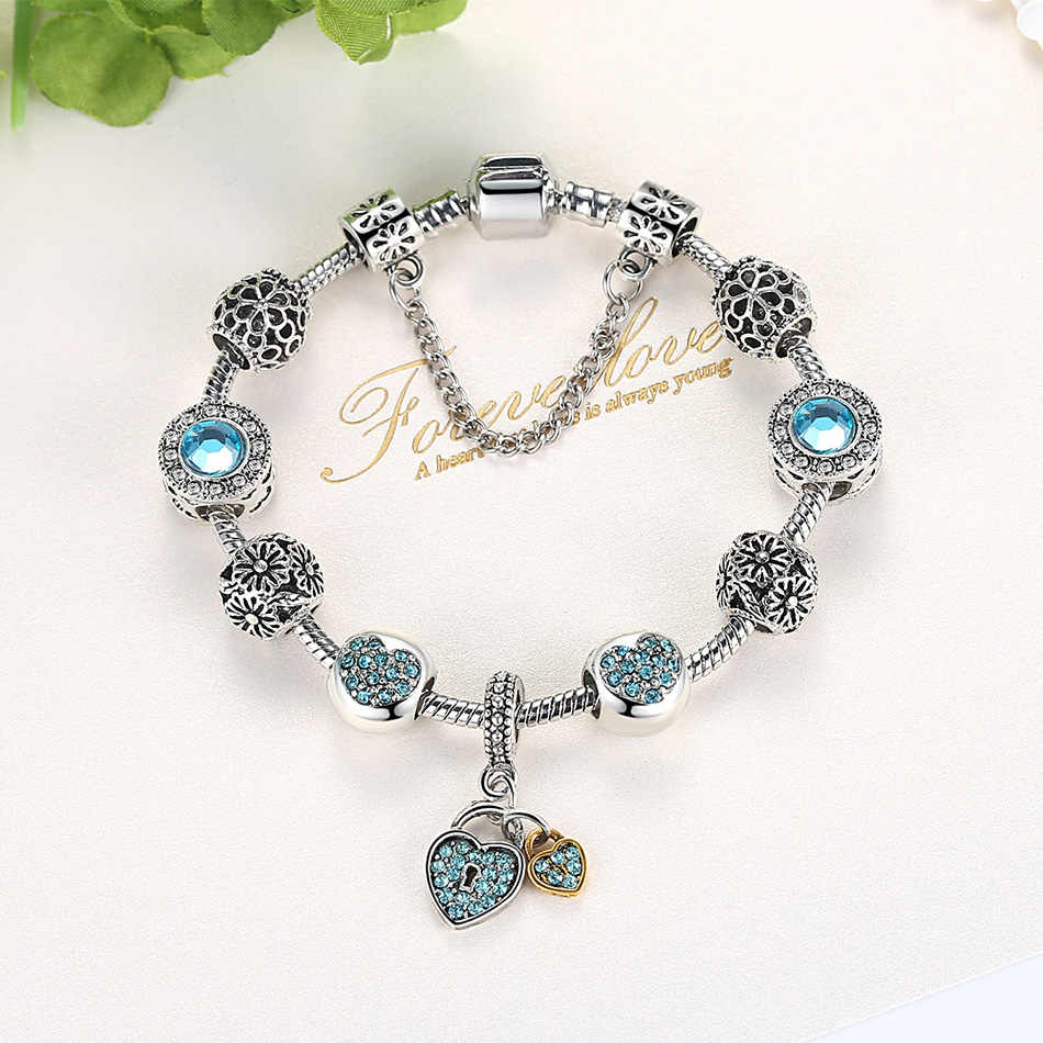 Античный серебряный шарм браслет и браслет для женщин с цветком сердце муранская нитка стеклянных бус браслеты дружбы DIY Ювелирные изделия 2019