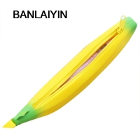 Novelty Silicone Portable Banana Pencil Case Bag Coin Purse School Supplies Stationery Yellow