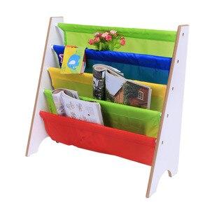 Image 3 - 4 niveaux bois chaussures support étagères support stockage maison organisateur multi couleur poche étagère enfants meubles bibliothèque