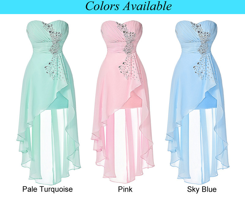 High Low Bridesmaid Dress 2017 Short Front Long Back Prom Gown Strapless Bead Sequin Pink Turquoise Bridesmaid Dress Grace Karin 6