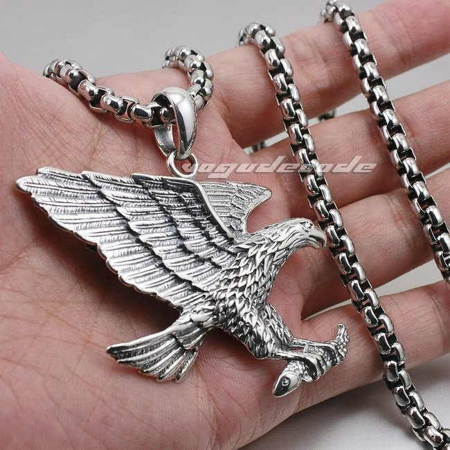 Heavy Solid 925 Sterling Silver Hawk Eagle Mens Biker Pendant 8C021(Necklace 24inch) mens choker necklaces stainless steel flying eagle hawk skyhawk bird tribal biker pendant necklace vintage punk style jewelry