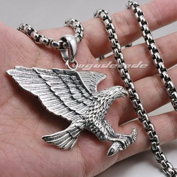 Heavy Solid 925 Sterling Silver Hawk Eagle Mens Biker Pendant 8C021(Necklace 24inch)