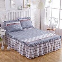 New Fashion Bedding Set 3pcs Soft Bed skirt Linen cotton bed sheets Pillowcase Home Textil linens sabanas cama drap de lit