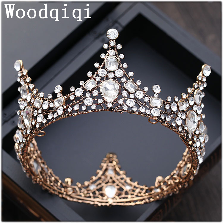 Woodqiqi Medieval Wedding crown Royal Tiara Queen Princess gold color Crown Birthday Tiara 8055i cnc 8055i a m fagor key button membrane for cnc system fast shipping