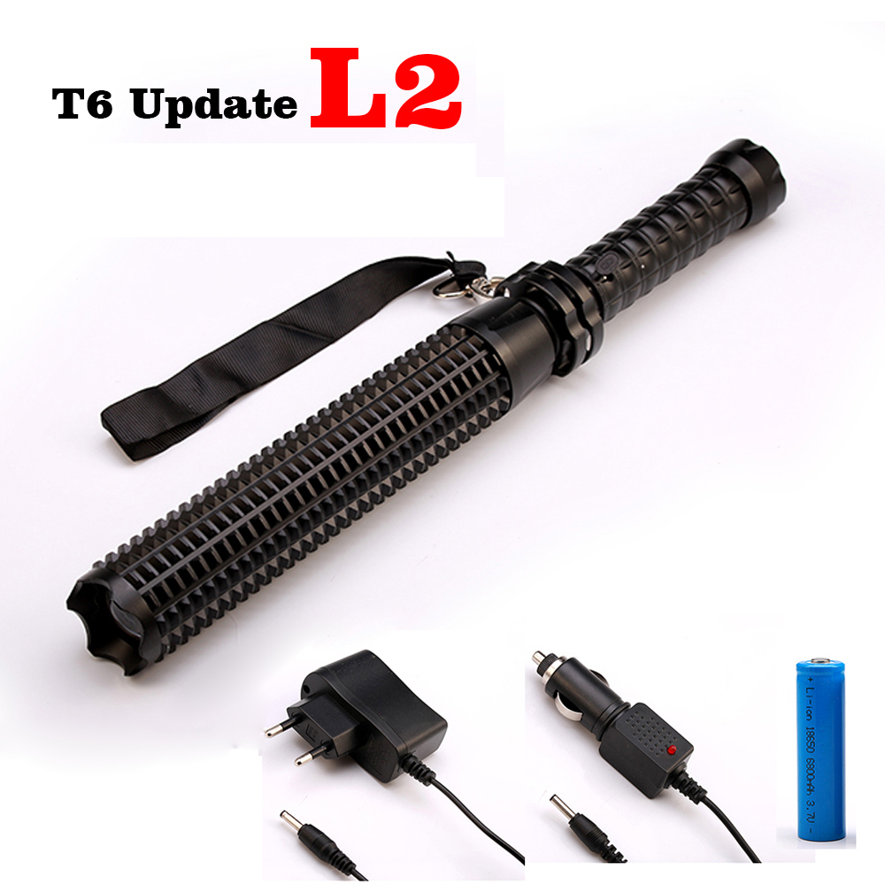 High Quality Powerful 8000LM -L L2/T6 LED Flashlight Torch Tactical Baseball Bat Light Lanterna for 18650 battery charger 8000lumen l l2 led flashlight tactical flashlight torch lanterna aluminum hunting light torch lamp 18650 charger gun mount