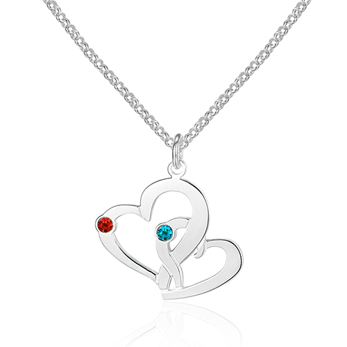 925 Sterling Silver Jewelry Necklace Heart Pendants Personalized Name Engrave Best Gift for Women (NE101603)