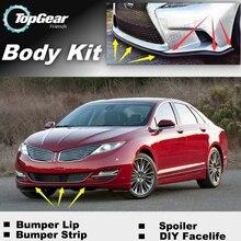 Бампер для губ отражающий губы для Lincoln MKZ передний спойлер юбка для TopGear Friends Тюнинг автомобиля/комплект кузова/полоса