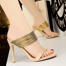 Slippery High Heel Sandals Metal Narrow Strap Stiletto Slippery Open Toe Cut Out Summer Mules Concise Dress Fashion Euro Shoes цена 2017