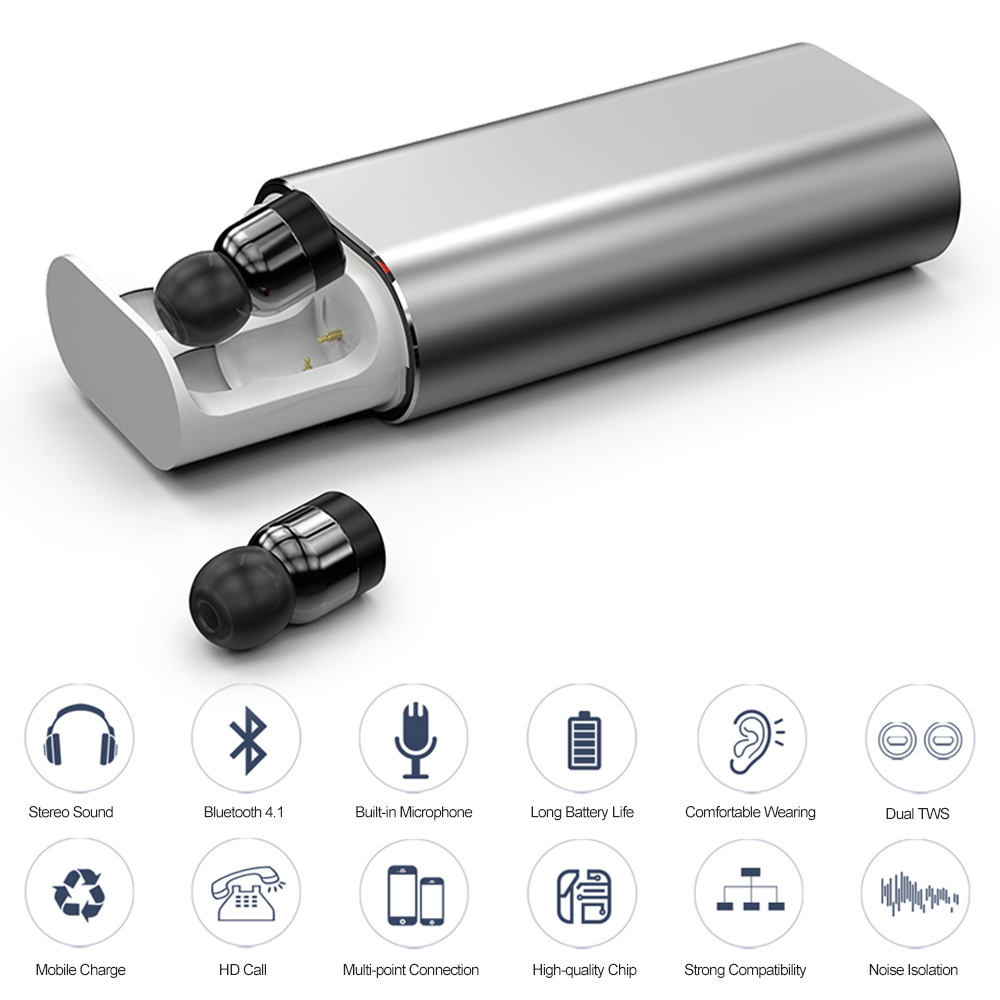 Original T10 Twins Wireless Earbud Bluetooth earphone Stereo mini earphone 2000mAh power bank for phone sport with microphone