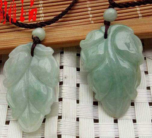Natural Burmese Stone Pendant Necklace Light Green Leaf Hanging Pendant Men & Women Jewelry JADES Jewelery Free Rope