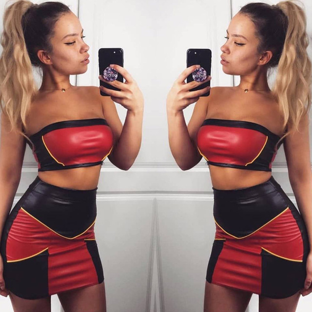 118b6851f3f Almagores Summer Red Black Patchwork Back Zipper PU Leather Tube Top+short  Skirts Two piece set Women Crop Top conjunto feminino