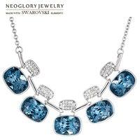 Neoglory MADE WITH SWAROVSKI ELEMENTS Crystal & Rhinestone Charm Long Necklace Geomeric Rectangle Design Stylish For Women Gift