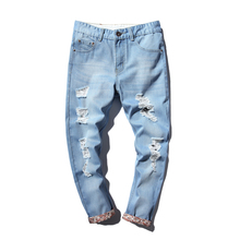New 2017 Men Trend Denim Jeans Ankle-Length Pants Character Ripped Holes Casual Men's Jeans Pants Male Blue Trousers Size 44