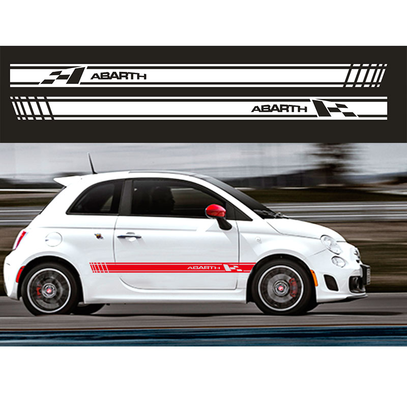 YONGXUN, innovate 2pcs Car Styling Abarth Side Skirt Sticker Racing Stripe Body Stickers for FIAT 500 da-65 2pcs yongxun stickers decal for alfa romeo 147 156 159 166 giulietta stripe body kit door handle guard sill da 432