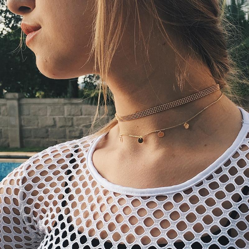 0a4d377844e40 Novos acessórios de moda jóias bohemia cor do ouro cadeia tattoo choker com  folha de borla colar para amantes casal n427