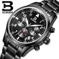 Suíça BINGER relógios homens marca de luxo de Quartzo Cronógrafo Cronômetro à prova d' água de aço inoxidável completa relógios de Pulso B9202-3