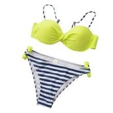 356bb59d6096 XL Mulheres de Biquíni SEXY Push up Set Biquinis HOT Praia Swimsuit 2017  Fluorescente Verde Listras Verão Banhista Maiô Brasilei.