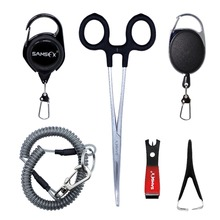 SAMSFX Fly Fishing Tools Combo and Accessories for Anglers Vest Backpack Assortment Nipper Forceps Jig Cleaner Coiled Lanyard