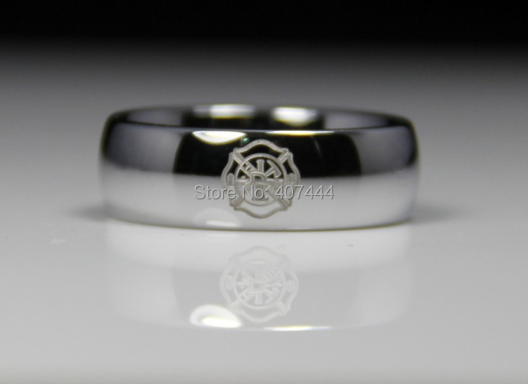 free shipping usa uk canada russia brazil hot sales 8mm silver dome firefighter fireman lord mens - Firefighter Wedding Rings