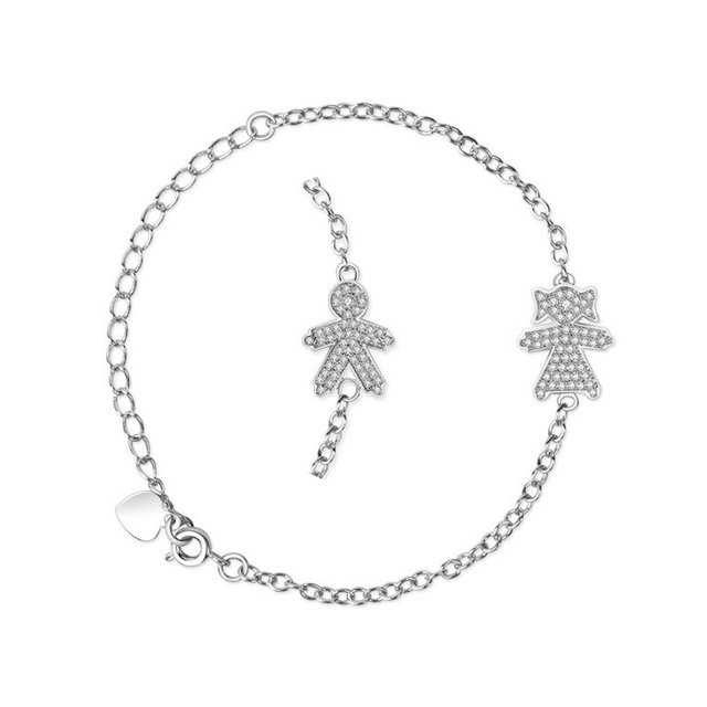 Beautiful Boy Girl Figure Charm Bracelet 100 925 Sterling Silver