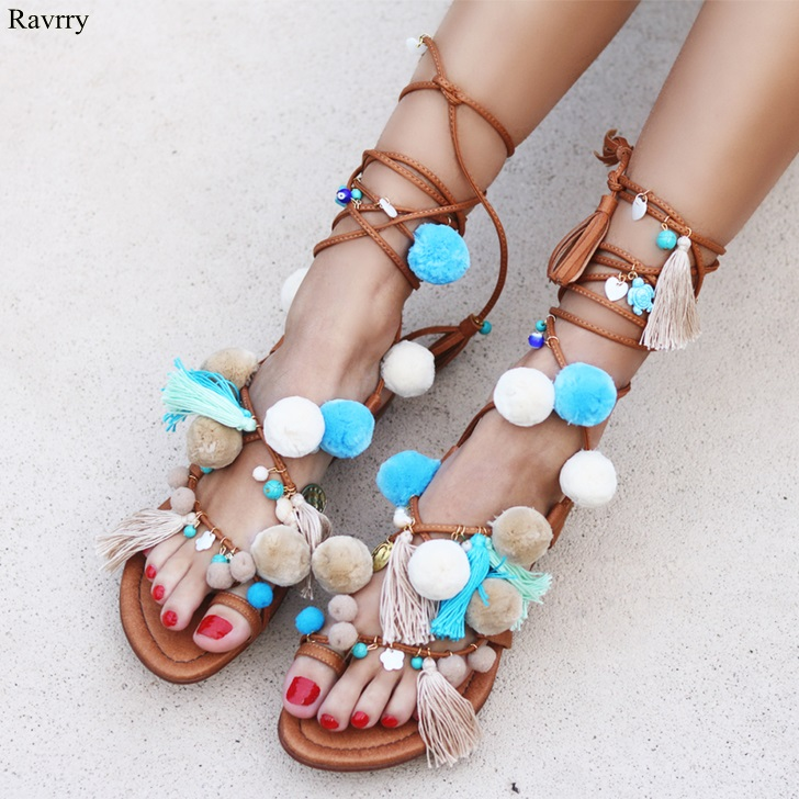 Ravryy Bohemia Tassel Lace Up Women Sandals Pom Pom Flat With Calf Cross Strappy Sandals Bead Hairball Cut-Outs Open Toe Footwea