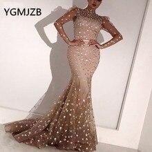 イスラム教徒の女性のイブニングドレスプラスサイズ2020マーメイドハイネックシアーロングスリーブスパンコールアラビアドバイフォーマルパーティーウェディングドレス