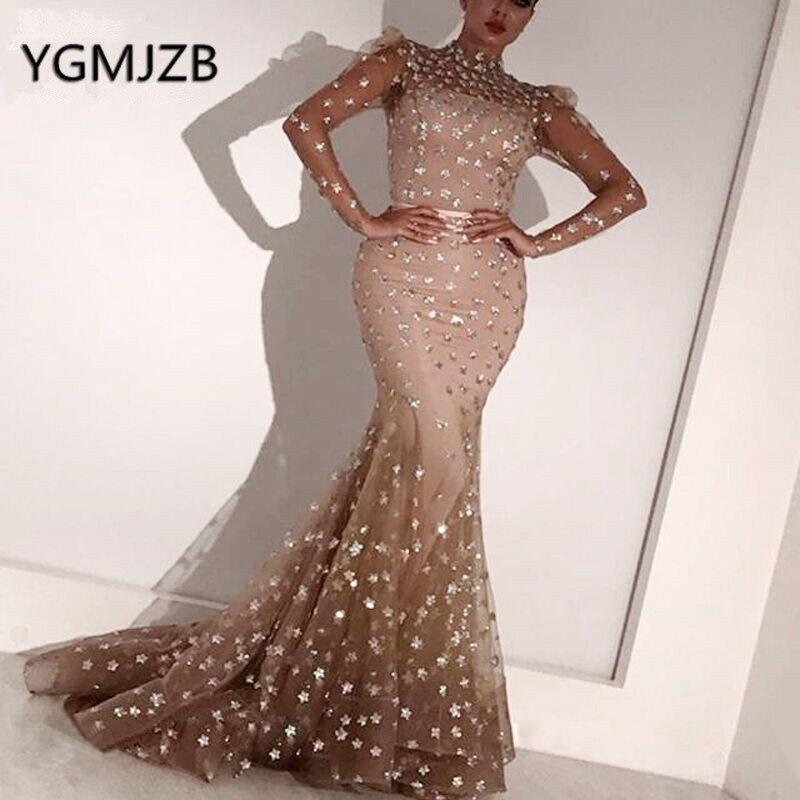 Muslim Evening Dresses Long Mermaid Glitter High Collar Full Sleeves Saudi Arabia Women Formal Party Evening Gown Robe De Soiree