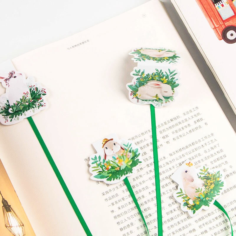 1X Creative Cute Kawaii Green Grass Rabbit Ribbon Magnetic Bookmarks Marker Of Page School Office Supply Student Stationery