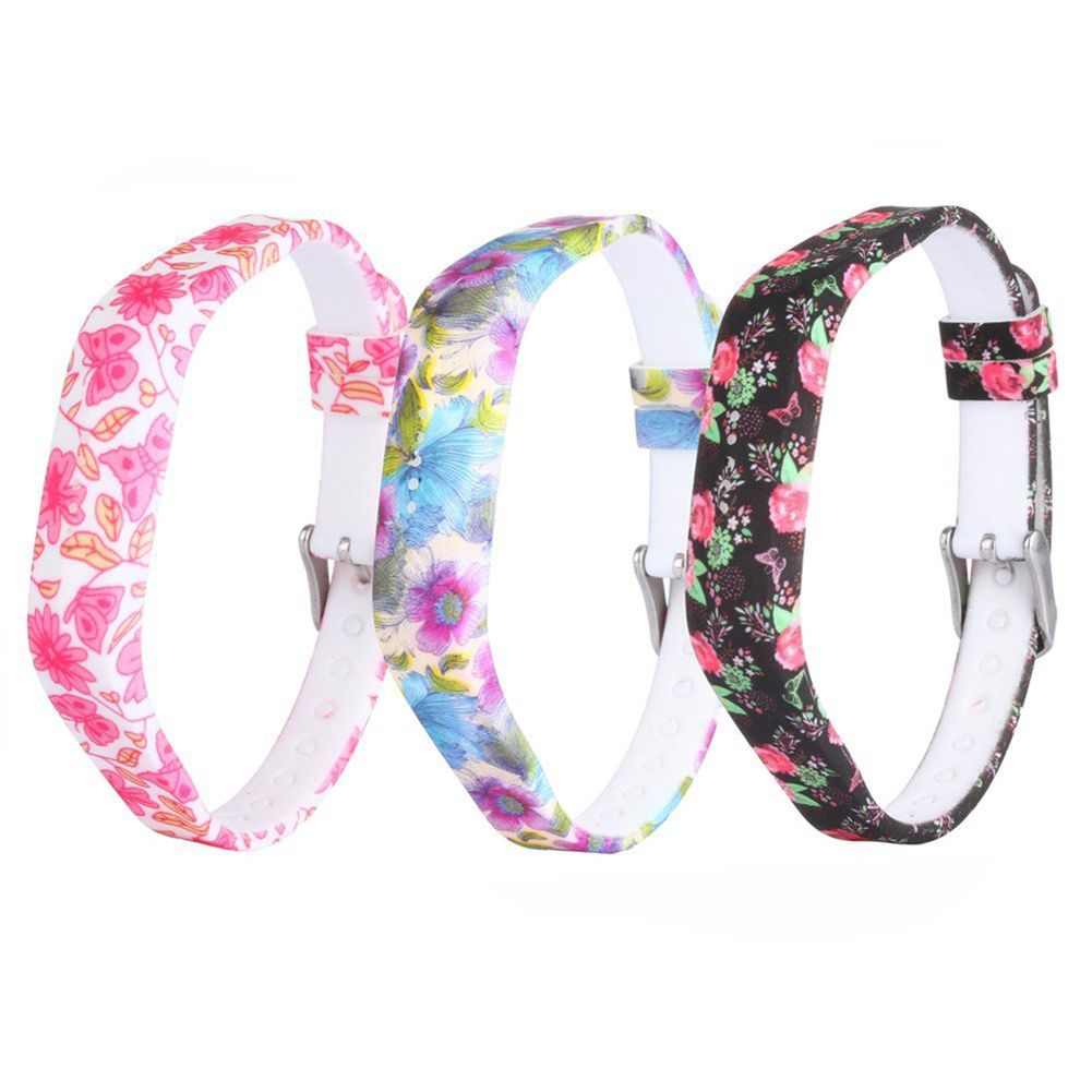 Practical for Fitbit Flex 2 Silicone Replacement Accessories Wristband with Steel Buckle Black Pink Dielianhua