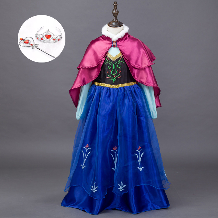Halloween Carnival Children Costumes Cartoon Characters for Kids Parties Promotion High Quality Girls Princess Anna Elsa Cosplay