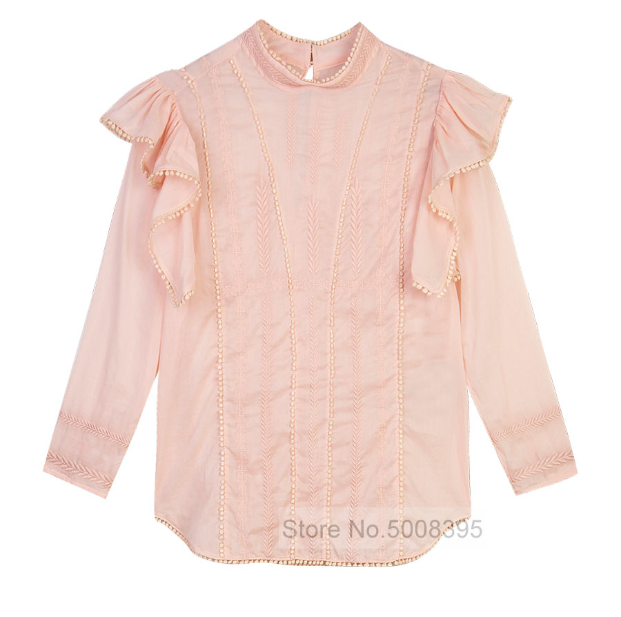 ANNY TOP Pink Embroidered Cotton TOPs Threequarter length sleeves Ruffles shoulder Fashion Blouse WOMAN 2019SS