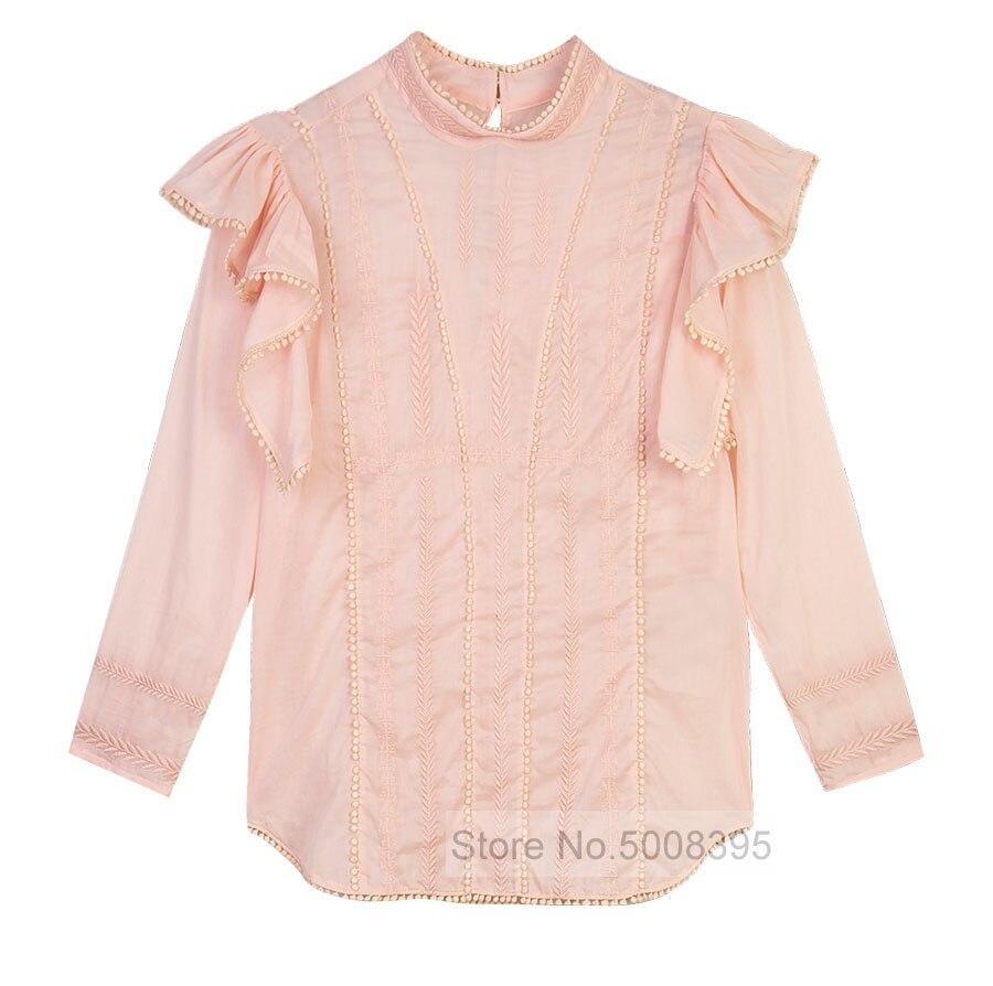 Anny 탑 핑크 수 놓은 코튼 탑스 3 분의 1 길이 소매 프릴 숄더 패션 블라우스 여자 2019ss-에서블라우스 & 셔츠부터 여성 의류 의  그룹 1