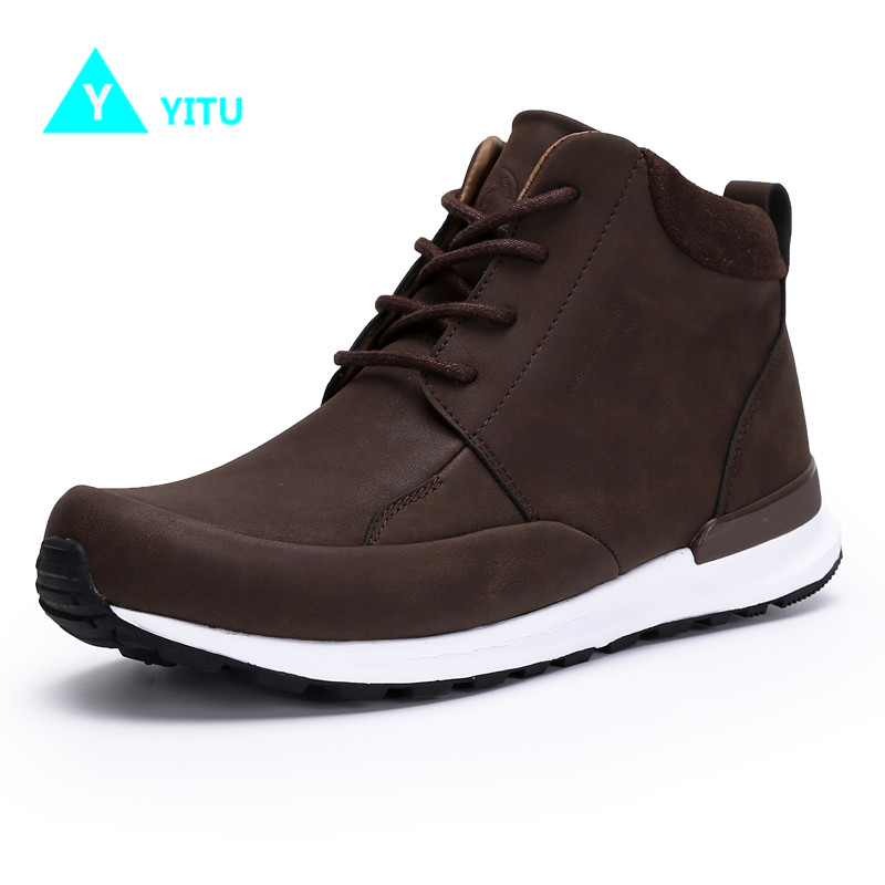 YITU Genuine Leather Breatbable Outdoor Sports Hiking Shoes Camping Waterproof Boot for Men Tactical Upstream Hiking Shoes military men s outdoor cow suede leather tactical hiking shoes boots men army camping sports shoes
