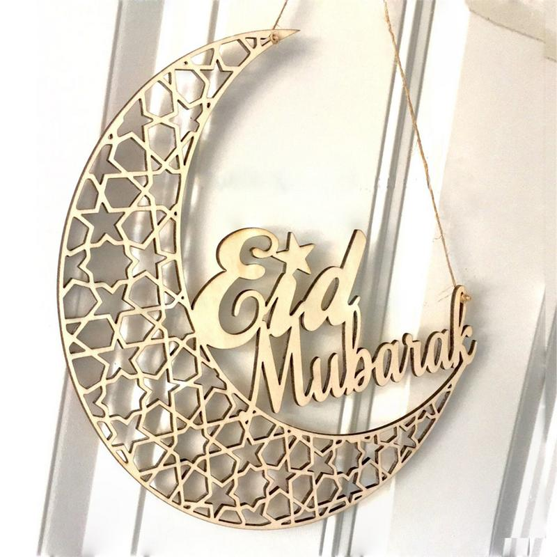 Ramadan Eid Mubarak Wooden Plaque Moon Islam Muslim Eid Mubarak Hanging Pendant Decoration For Home DIY Hollow Party Supplies
