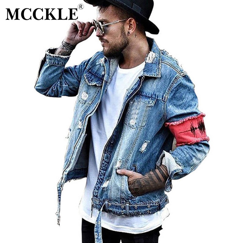 Jeans Jacket Men Denim Hip Hop Hole Patchwork Long Sleeve Mens Jackets Coat Spring Hi-Street Washed Ribbon Male Streetwear Coats(China)