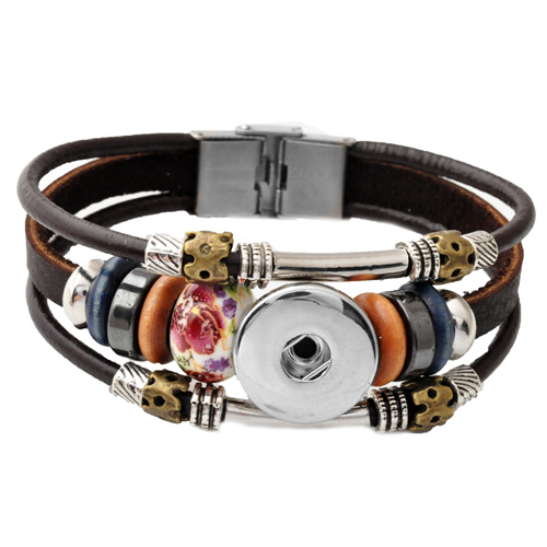 P00445 -9 Snap Button Bracelet&Bangles Stainless Steel Fashion Charm Leather Bracelet For Woman FIt Rivca Snap Button Jewelry