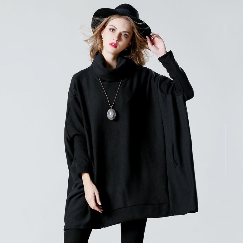 Solide Chandail Lâche Manches Femme Col Roulé Longues Mignon Tricot gray Printemps Black Oversize Femelle Automne À WDYI29EHe