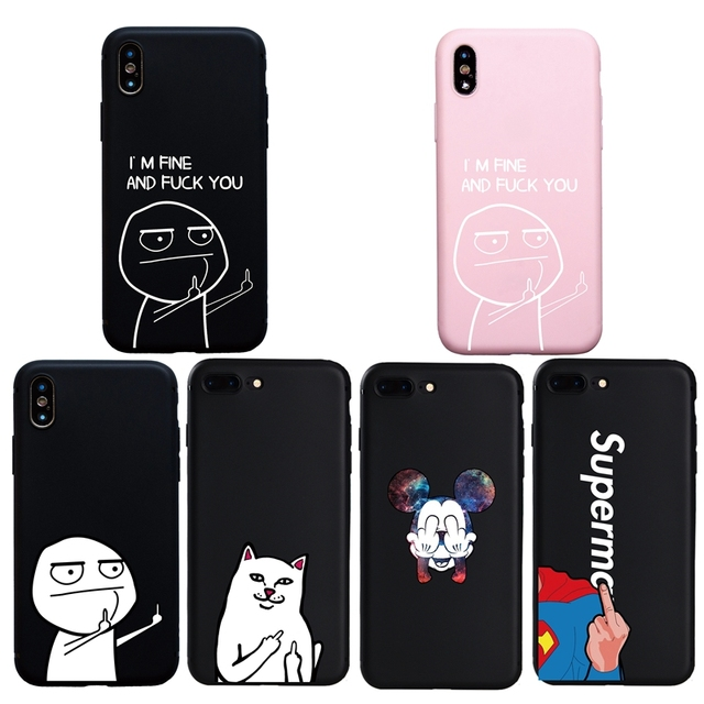 new product f5733 b0bad US $0.91 56% OFF|Funny Cartoon Lovers Phone Case For iphone 7 8 Plus X XS  Max XR Case For iphone 6S 6 Plus Middle Finger Cover Candy Case-in Fitted  ...