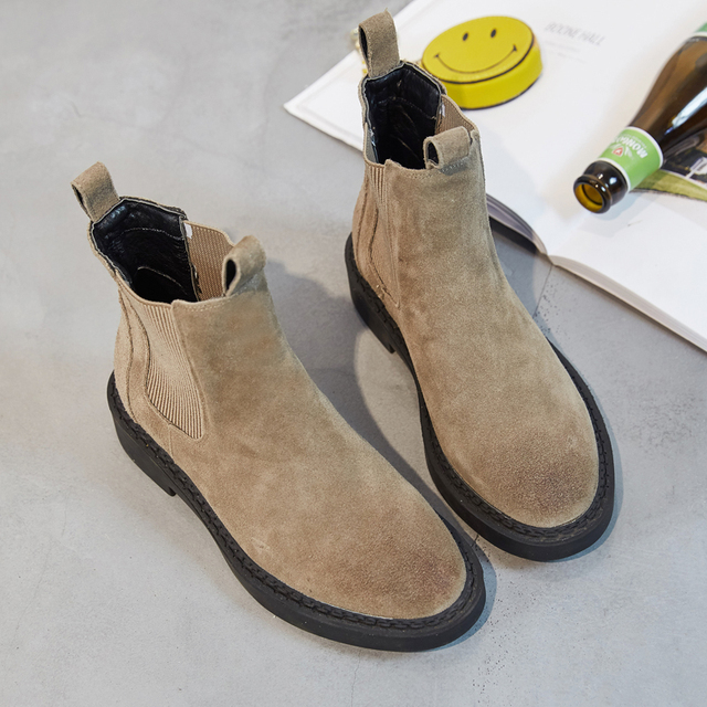df063ae23e58f 2019 New Fashion Women Chelsea Boots Female Autumn and Winter Flat With  Matte Leather Martin Boots Women s Khaki Cotton Inside