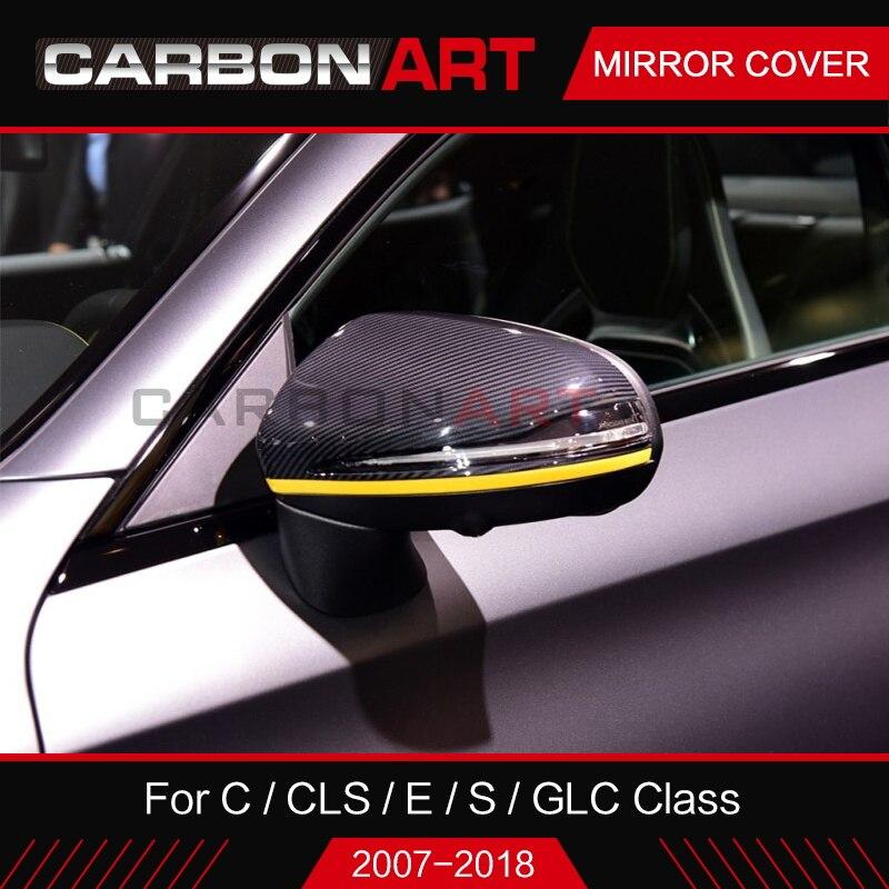 Углеродного волокна Зеркало Обложка для Mercedes W205 W222 W213 W238 X253 для C S GLC E Замена класса LHD правым сухой углерода