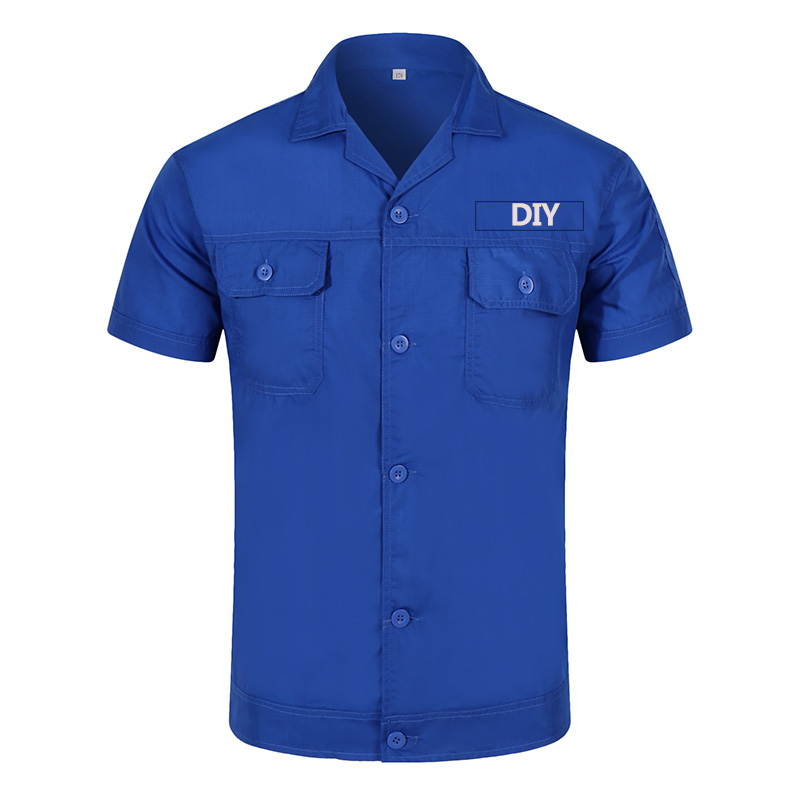 DIY Your Logo Or Photo Text Custom Workwear Men's Short Sleeve Industrial Work Shirt Two Pocket Workwear