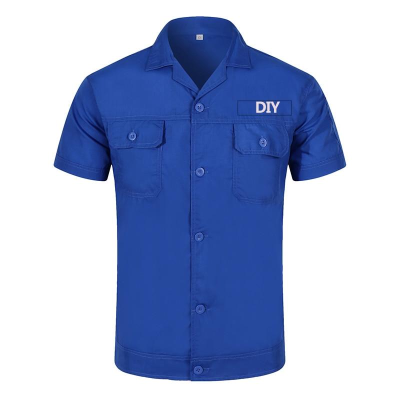DIY Your Logo Or Photo Text Custom Workwear Men's Short Sleeve Industrial Work Shirt Two Pocket Workwear