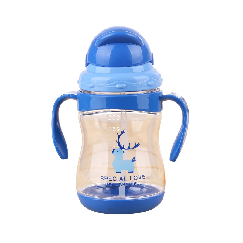 260ml Food Grade Silicone Baby Sippy Cups Kids Drinking Bottles Infant Children Learn Drinking With Double Handles & Straw