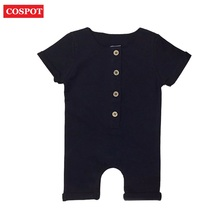 e4a2cc919a0 COSPOT Baby Boys Summer Short Rompers Boy Cotton Jumper Kids Fashion Plain  Black Gray Jumpsuit 0