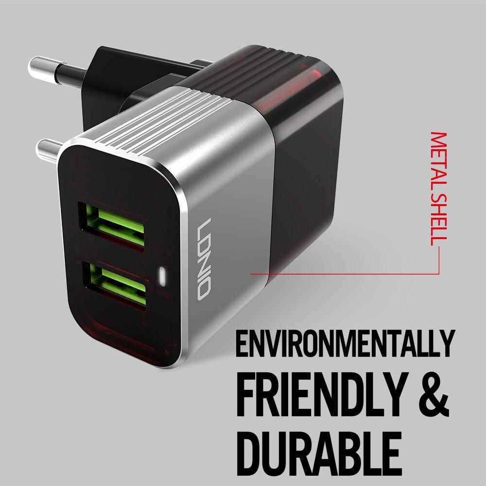 LDNIO A2206 2.4A US wtyczka szary i czerwony podwójny USB