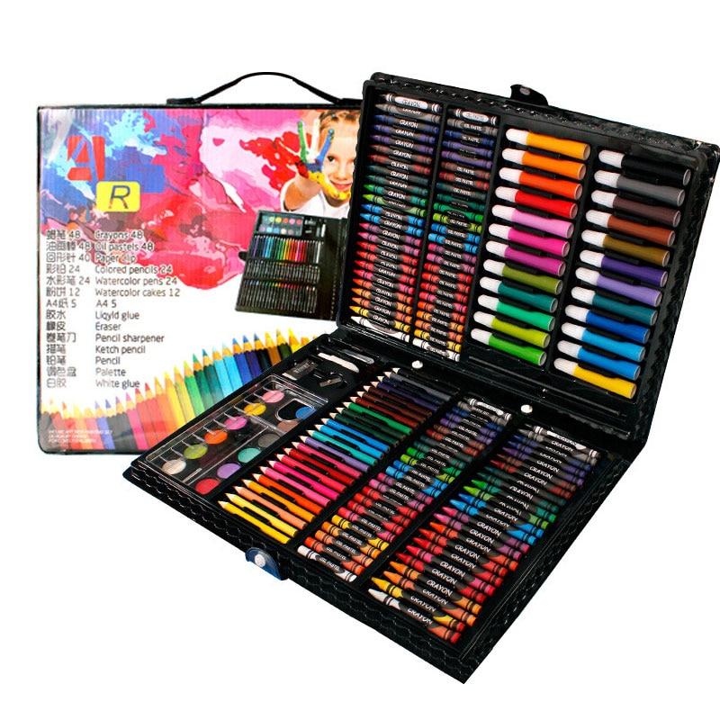 208 pièces Dessin coffret cadeau marqueur d'art pinceau aquarelle Stylo Crayon Palette Pour Enfants coffret cadeau Art Peinture Fournitures