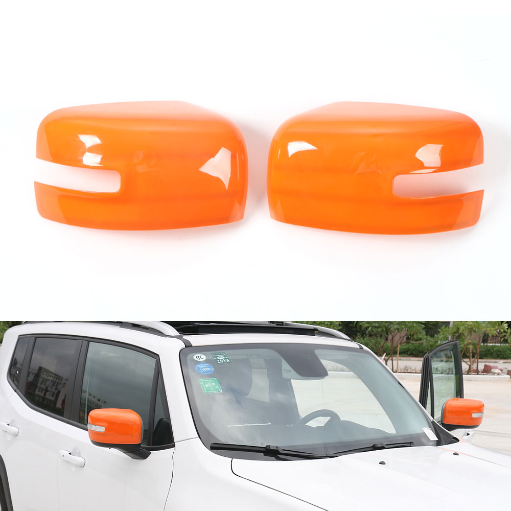 Car Outside Trim Chrome Rearview Side Mirror Cover Trim 2pcs Frame Decoration Cap For Jeep Renegade 2015 2016 Car Styling Covers